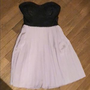 Strapless pleather top dress with pleated skirt